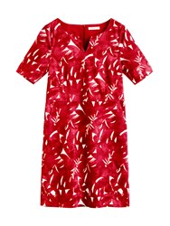 Sandwich Graphic Leaves Dress Red