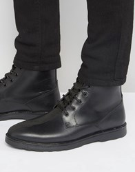 Asos Lace Up Boots In Black Leather With Military Tape Detail Black Green