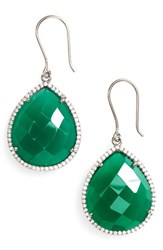 Susan Hanover Women's Small Semiprecious Stone Teardrop Earrings Emerald Green Black Silver