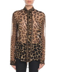 Saint Laurent Tie Neck Leopard Chiffon Blouse
