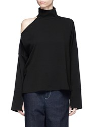 Tibi 'Savanna' Cutout One Shoulder Crepe Top Black