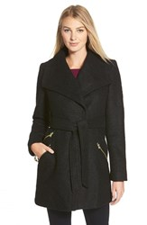 Women's Guess Belted Boucle Wrap Coat Black