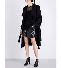 Yang Li Buckle Detail Cotton Trench Coat Black