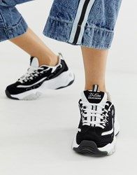 Skechers D'lite Chunky Trainers 3.0 In Back And White Mono Black
