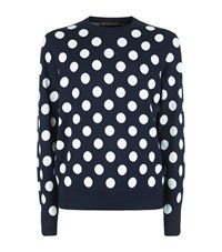 Michael Kors Big Dot Crew Neck Sweater Male Navy