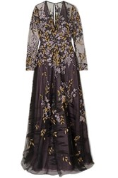 Naeem Khan Embroidered Tulle Gown Black