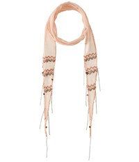 Chan Luu Viscose Chiffon Beaded Skinny Scarf Dusty Pink Scarves