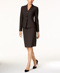 Le Suit Check Print Three Button Skirt Brown