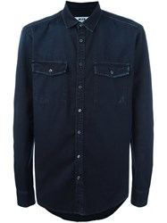 Msgm Raw Edge Denim Shirt Black