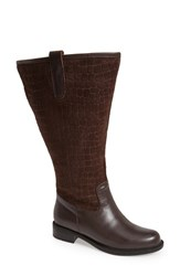 David Tate Women's 'Best' Calfskin Leather And Suede Boot Brown Calf Suede