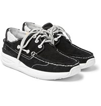 Visvim Hockney Leather Trimmed Suede Boat Shoes Black