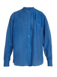 Etoile Isabel Marant Lixy Cotton And Silk Blend Shirt Blue