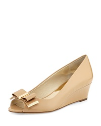 Kiera Open Toe Wedge Pump Nude Michael Michael Kors
