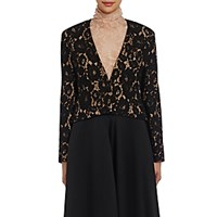Lanvin Women's Guipure Lace Crop Jacket Black Blue Black Blue