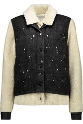 Maison Martin Margiela Mm6 Convertible Distressed Denim And Faux Shearling Jacket Black