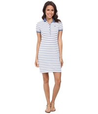 Lacoste Short Sleeve Stripe Pique Polo Dress Admiral Blue White Women's Dress