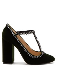 N 21 Crystal Embellished Velvet Pumps Dark Green