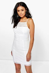 Boohoo Panelled Lace Bodycon Dress Ivory