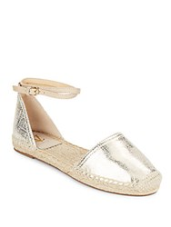 Vince Camuto Cable Metallic Leather Espadrilles White Gold