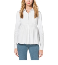Michael Kors Stretch Cotton Empire Waist Shirt Optic White