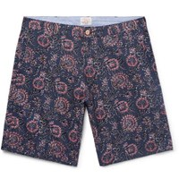 Faherty Slim Fit Indigo Dyed Printed Linen And Cotton Blend Shorts