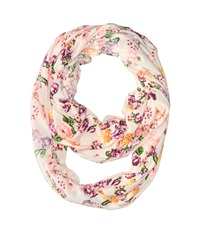 Steve Madden Neon High Contrast Floral Infinity Scarf Ivory Scarves White