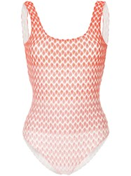 Missoni Faded Effect Patterned Swimsuit Red