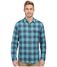 Lucky Brand Doubleweave One Pocket Teal Plaid Men's Long Sleeve Button Up Blue