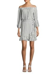 Design Lab Lord And Taylor Striped Off The Shoulder Wrap Dress White Navy