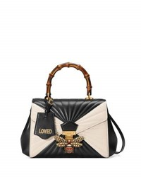 Gucci Queen Margaret Linea Medium Bee Bamboo Top Handle Bag Black Multi Black Pattern