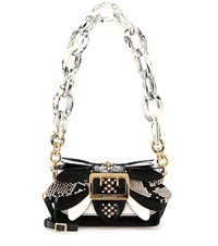 Burberry The Small Buckle Leather And Snakeskin Bag Black