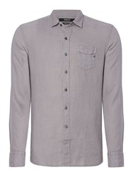 Replay Men's Linen Shirt With Chest Pocket Grey
