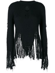 Balmain Distressed Ribbed Jumper Wool Black