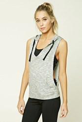 Forever 21 Active Heathered Hoodie Heather Grey