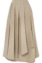 A.W.A.K.E. Pleated Checked Cotton Midi Skirt Beige
