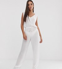 South Beach Exclusive Drawstring Jumpsuit In White Pink