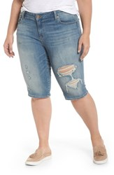 Lucky Brand Plus Size Women's Ginger Ripped Denim Bermuda Shorts Indian Hills