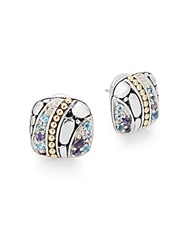 John Hardy Kali Sterling Silver 18K Yellow Gold Swiss Blue Topaz And Iolite Square Stud Earrings Silver Multi