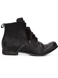A Diciannoveventitre Distressed Lace Up Boots Black
