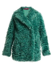 Sies Marjan Pippa Double Breasted Shearling Coat Dark Green