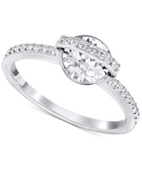 Swarovski Silver Tone Clear Crystal And Pave Statement Ring