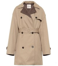 Tod's Cotton Blend Trench Coat Beige