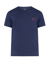 Polo Ralph Lauren Logo Embroidered Crew Neck Cotton T Shirt Blue