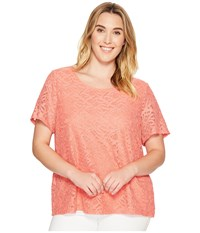 Calvin Klein Plus Size Short Sleeve Abstract Lace Top Porcelain Rose Women's Short Sleeve Knit Pink