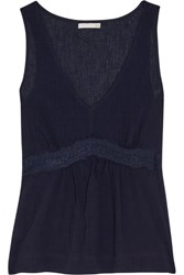 Skin Lace Trimmed Crinkled Cotton Gauze Pajama Top Midnight Blue