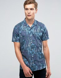 Minimum Gresham Printed Short Sleeve Shirt Navy