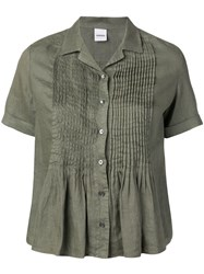Aspesi Short Sleeve Pleated Top Green