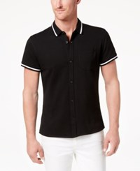 Kenneth Cole Reaction New York Men's Tipped Polo Black