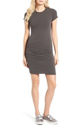 James Perse Women's Ruched Stretch Cotton Dress Smog