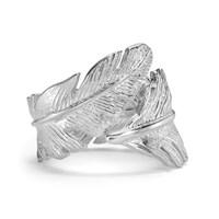 Dower And Hall Silver Statement Feather Wrap Ring Silver
